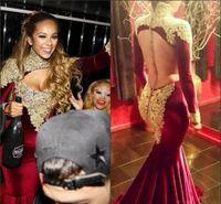 Wholesale lace velvet evening dresses - New Sexy Burgundy Vestido De Festa Evening Dresses High Neck Long Sleeve Lace Appliques Beads Mermaid Velvet Open Back Formal Prom Gowns