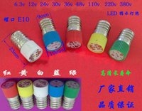Wholesale Led Screw Small - E10 100Pcs freeshippping LED Bulbs E10 10X23MM lamp beads small instruments with red, green and yellow and blue bulbs screw 220V white