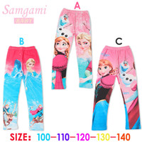 Wholesale Low Price Leggings - Newest 3 designs low price Frozen Elsa Anna princess girls children leggings long pants trousers cartoon clothing