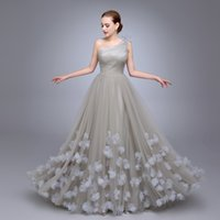Wholesale Ladies White Dress Flowers - Ladies Popular Prom Dress A Line robe de soiree One Shoulder vestido de festa longo Flowers Prom Tulle Long Evening Dresses