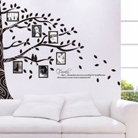Wholesale Photo Adhesive Decal - 257*200cm Large Size Black Photo Frame Tree Family Tree Wall Stickers Wall Arts Home Decorations Living Room Bedroom Wall Decals