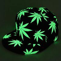 Wholesale Glow Dark Hats - Herb Baseball Hat Glow In The Dark Cap Luminous Night Glow Hat Hip-hop Rasta hemp Leaf 420 Pot Flat Bill Snapback Baseball Cap