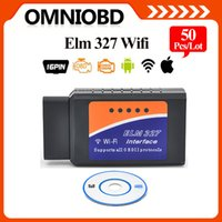 Wholesale Bmw Iphone Interface - 50PCS lotELM327 WIFI OBD2   OBDII Auto Diagnostic Scanner Tool ELM 327 WiFi interface scan Tool for iPhone iPad DHL Free Shipping