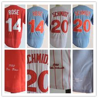 Wholesale Vintage White Roses - Vintage Throwback M&N 1980 #14 Pete Rose Jersey 20 Mike Schmidt Retro Baseball Jersey Stitched Blue Red White Stripe Mix Order