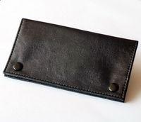 Wholesale Pouch Tobacco - Plain Black PU Leather Tobacco Herb Pouch Pocket Long size