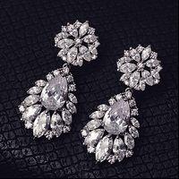 ingrosso orecchino di goccia della lacrima nuziale-Moda argento fiori strass cristallo orecchini da sposa da sposa lacrime orecchini da sposa di lusso gioielli accessori da sposa