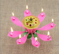 Wholesale Lotus Light Wholesale - 2017 New Velas Decorativas Newest Music Candle Birthday Party Wedding Lotus Sparkling Flower Candles Light Event Festive Supplies Ems free