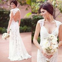 Wholesale Sheath Backless Wedding Dress - 2015 Stunning Backless Wedding Dress Sexy Romantic Sheath Lace Bridal Gowns Beach Party Brides Formal Wear Reception Dresses Garden