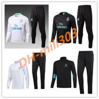 Wholesale Men Football Pants - Best quality 17 18 Real Madrid Soccer Tracksuit Jacket Suit 2017 2018 Ronaldo Jogging Football Tops Coat Pants Adults Training Tracksuit