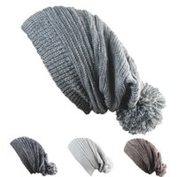Wholesale Double Ball Wool Cap - Melaleuca Folds Beanies Winter Protection Double Colors Hedging Cap With Big Hair Ball Hip Hop Hats For Men And Women 6 8jb B
