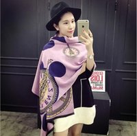 Wholesale double sided cashmere pashmina - 2017 new spring summer fashion luxury brand scarf for women plus thick cashmere women's pashmina double side scarves