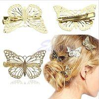 accesorios de mariposas joyas al por mayor-Cortapelos Mujeres Brillante Oro Mariposa Pinza de pelo Diadema Horquilla Diadema Belleza Señora Accesorios Diadema Diadema Joyas
