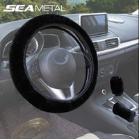 Wholesale Knob For Car Steering Wheel - 3pcs Car Steering Wheel Cover Handbrake Gear Knob Covers Short Plush Winter Universal Car Interior Accessories Styling For All