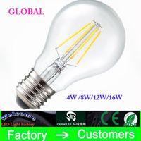 a19 ampul toptan satış-E27 B22 Led Filament Ampuller Işık 360 Açı A60 A19 Dim Edison Lamba 4 W / 8 W / 12 W / 16 W 110-240 V CE UL Garanti 3 Yıl