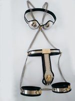 casal de cinto de castidade bdsm venda por atacado-Conjunto de Dispositivos de Castidade feminino Handmade Cinto de Castidade + Sutiã de Castidade + Algemas Coxa Plugue Vagina Anal bdsm Bondage Jogos de Sexo para Casais