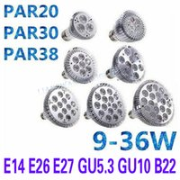 Par20 PAR30 E27 E14 E14 LED Ampoule 9w 10w 14w 18w 24w 30w Dimmable LED Spotlight LED Éclairage LED Lampes économiseuses d'énergie