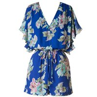 Wholesale Blue V Neck Jumpsuit - 2015 Sexy print Women Jumpsuits mono mujer blue SHORT sleeve v-neck Hot short Pants Playsuit Shorts Rompers womens jumpsuit