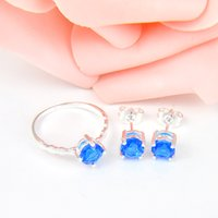 Wholesale Silver Ring Blue Gem - 2 Pieces 1 Set Classic Holiday Party Jewelry Blue Topaz Crystal Gems 925 Sterling Silver Plated Ring Stud Earrings USA Wedding Jewelry Set
