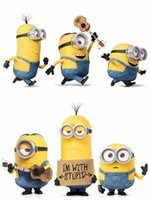 Wholesale Despicable Minion Stuart - PrettyBaby Creative Cartoon Despicable me 2 minions stuart Kavin Bob wall sticker kid room bedroom wallpaper home decoration decor in stock
