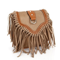 Wholesale Fringe Bag Brown - 2015 Tassel Small Purse Casual Women Messenger Bags Vintage PU Leather Fringe Crossbody Bags Ladies Purses Women Bolsas Feminina