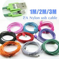Wholesale weave wire - 2A Braided Wire Micro USB Cable 3ft 6ft 10ft Sync Nylon Woven Charger Cords Fast Charging Microusb Android