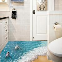 lindo papel tapiz de baño al por mayor-Venta caliente hermosa etiqueta de la pared del mar lindo 3D Dolphin piso pegatinas impermeable baño pegatina ecológico Kids Wallpaper SD120