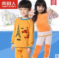 Wholesale Boys Thermal Underwear 12 - Wholesale-2015 Boys Thermal Underwear Children's Long Johns Casual Cartoon Winter Plus Thick Velvet Thermal Underwear Sets For Girls