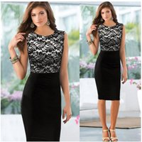 Wholesale tunic shift dress - Womens Elegant Pinup Floral Lace Colorblock Tunic Bodycon Pencil Shift Dress