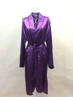 Wholesale Sexy Silk Robe Long Purple - Wholesale-2015 Summer style Plus Size Rayon Bathrobe Womens Kimono Silk Long Satin Robe Sexy Lingerie Hot Nightgown Sleepwear with Belt