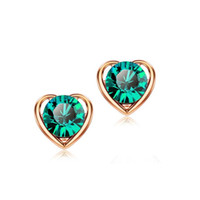 Wholesale Svarovski Earrings - 18K Gold Plated Double Heart Stud Earrings Jewelry Svarovski Crystal Earrings Jewelry Alloy Zircon Jewelry Earrings For Women 1311