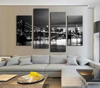 peças decorativas florais modernas venda por atacado-4 Peça Frete Grátis Hot Vender Modern parede Pintura New York Brooklyn bridge Início Arte Decorativa Imagem Pintura em Cópias Da Lona