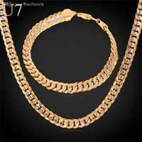 "Wholesale Gold Cuban Chain Stamped - Wholesale-Two Tone Gold Plated Necklace Set With ""18K"" Stamp Party Jewelry Wholesale Cuban Chain Necklace Bracelet Men Jewelry Set"