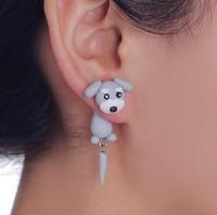 Wholesale Grey Earrings - Animal earring Summer Style Handmade Polymer Grey Dog Stud Earring For Women Fine Jewelry