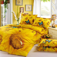 Wholesale Sunflower Queen Comforter - Wholesale-Yellow sunflower 3d oil painting bedding sets Queen Full size 4pc butterfly comforter duvet cover bedclothes cotton home textile
