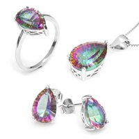 Wholesale Mystic Stone Rings - Wholesale Hot Women's Pear 4.5ct Genuine Gem Stone Rainbow Mystic Topaz Pendant Ring Earring Set Solid Pure 925 Sterling Silver