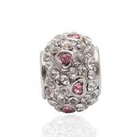 pandora tibetisches silber großhandel-4 Arten Mix Tibetischen Silber LIEBE Herz Großes Loch Perlen Für Pandora Charm Armbänder Schmuck DIY