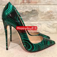 зеленые пятки оптовых-Бесплатная доставка мода женщины насосы зеленый черный Малахит патент высокие каблуки обувь сапоги 120 мм натуральная кожа