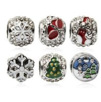 blue jewelery Canada - 2017 New Year's style christmas charms big hole charms beads fit DIY bracelets jewelery hot sales wholesales freeshipping