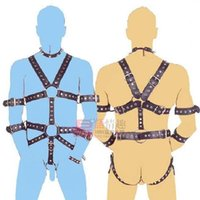 Wholesale Bondage Male Body - Men BDSM Toys Body Harness Gear Chastity Cock Ring Restrain Bondage Body Harness Leather Systemic Set Alternative Stimulation Adult Sex Toy