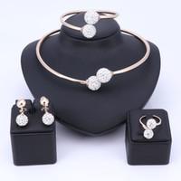 ingrosso set di oro puro 18k-Set di gioielli di perle africane all'ingrosso Set di gioielli di moda delle donne di Dubai Set di orecchini in oro puro con collana in oro