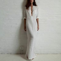Wholesale Maxi Red Wines - Good quality summer style Women Fashion Dresses Linen Cotton Casual Long Split Maxi Wrap Dress Ladies Vestidos Wine red white 2016