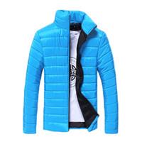 ingrosso cappotto imbottito invernale nero-Autunno-Inverno uomo solido cotone imbottito maniche lunghe multicolore giacche cappotti bianco / blu navy / nero / rosso / lago blu / arancione / grigio chiaro