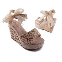 talons hauts coins arcs achat en gros de-Vente en gros - Drop Shipping Femmes Mode été compensée femme chaussure dame plate-forme sandales dentelle ceinture arc bout ouvert chaussures à talons EUR 41