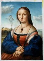 Wholesale Christmas Painting Famous - Free Shipping Portrait of Maddalena Doni by Sanzio Raphael, Famous Art Oil Painting on Canvas Christmas Decoration H-0678