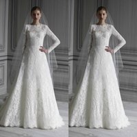 Wholesale Detachable Lace Tops - Vintage Lace Long Sleeves Wedding Dresses Bridal Gowns Top Elegant High Neck A-line Floor Length Lace Wedding Gowns with Keyhole Back