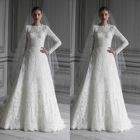 Wholesale white organza tops online – Vintage Lace Long Sleeves Wedding Dresses Bridal Gowns Top Elegant High Neck A line Floor Length Lace Wedding Gowns with Keyhole Back