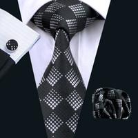 Plaid Tie Silk Necktie Hankerchief Cufflinks Mens Jacquard Woven Classic Business Black Necktie N-0258