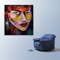 Wholesale Picture Piercings - Hand painted Modern Knife Pictures On Canvas The Woman With Bright Piercing Eyes Oil Painting For Room Decor Wall Painting Hang Craft