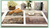Wholesale Dishware Wholesale - European Street Scenery Placemat Cotton Linen Drawing Table Mat Dishware Coasters For Dinner Table Decoration Accessories