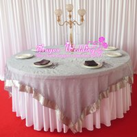 Square organza overlay tablecloths - 10PCS Rose Pattern Square Silver Color Organza Flocking Overlay Tablecloth For Wedding Party Hotel Use